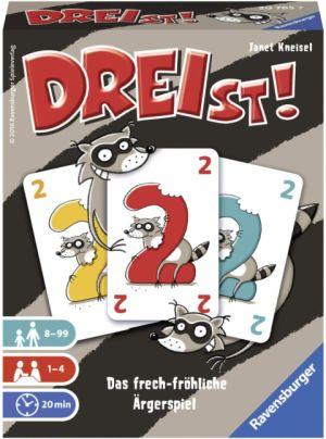 Eine Abbildung des Kartons des Spiels Dreist.
