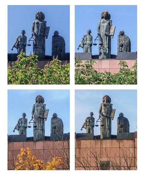 Die Justizia auf dem Darmstädter Justizzentrum im Frühling, Sommer, Herbst und Winter.