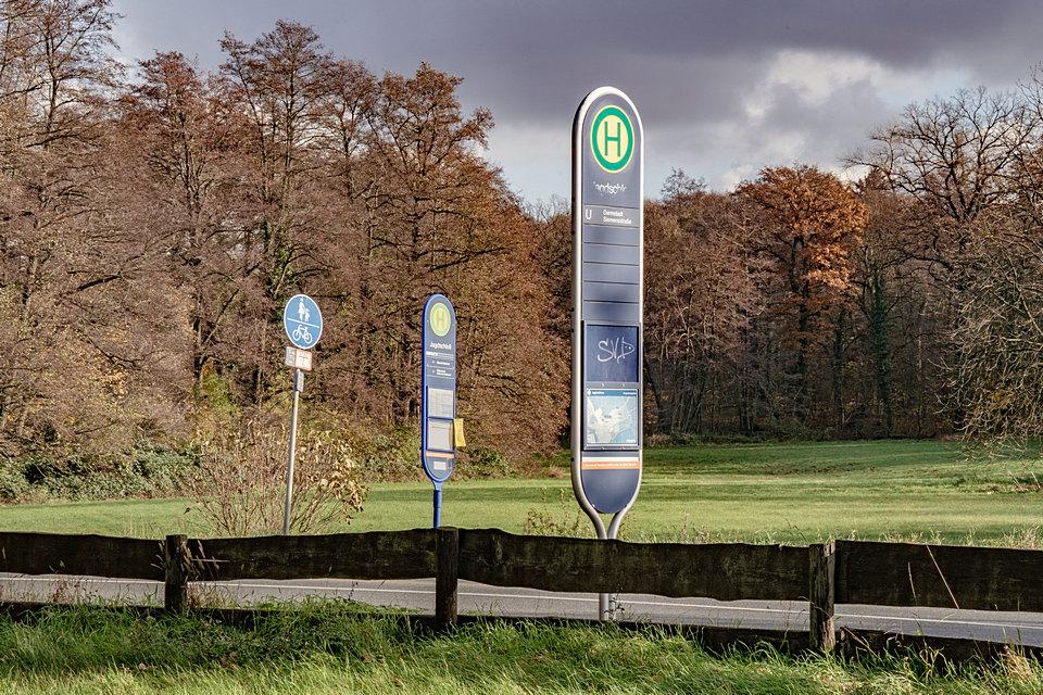 Zwei Haltestellenschilder, dahinter Wald im Herbst.